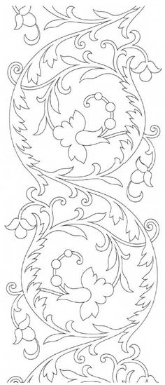 Hand Embroidery Pattern: Scroll Design Free Hand Embroidery Pattern from the site of Mary Corbet: Repeatable Scroll Design from Therese Dillmont.Free Hand Embroidery Pattern from the site of Mary Corbet: Repeatable Scroll Design from Therese Dillmont. Hungarian Embroidery, Embroidery Transfers, Embroidery Patterns Free, Crewel Embroidery, Hand Embroidery Designs, Vintage Embroidery, Ribbon Embroidery, Cross Stitch Embroidery, Machine Embroidery