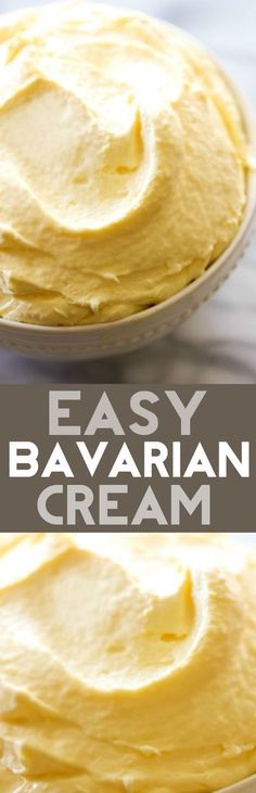 Easy Bavarian Cream... A simple, quick and delicious filling or topping. It is also delicious by the spoonful! It is perfect in or on a variety of breakfasts or cakes! Weight Watcher Desserts, Cupcake Frosting, Pudding Frosting, Cake Icing, Cupcake Cakes, Buttercream Icing, Custard Filling For Cake, Cream Cheese Cake Filling, Cream Puff Filling
