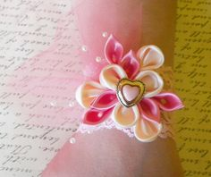 $16.00 Rose Pink and Baby Pink Kanzashi flower Lace Corsage