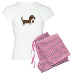 Cafepress Personalized Cute Basset Hound Women's Light Pajamas, Size: Large, Pink