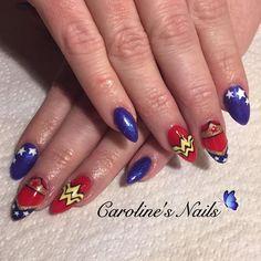 Wonder Woman nail art by Caroline x
