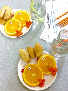 5 loaves and 2 Fishes. I cut canned biscuits into very small pieces for the loaves. I used orange slices, edible eyes, carrots, and I cut gummy fish apart for the lips of the fish. Always trying to do sugar-less snacks.
