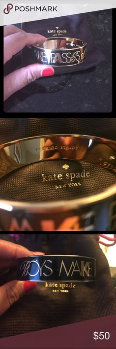 """NWT Kate Spade Bangle New Kate Spade bangle that states """"boys make passes at girls in glasses"""" on the outside and """"lets go steady"""" on the inside. Received as a gift so I don't have the actual tag but I've never worn it as I have the same bracelet. Comes with the Kate Spade dust cloth! kate spade Jewelry Bracelets"""