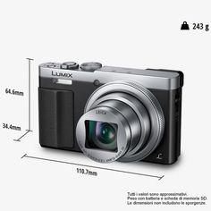 Panasonic Lumix DMC-TZ70EG-S, Fotocamera digitale 12.8 megapixel, Nero/Argento…