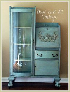 Reserved for Anh - Vintage Secretary Curio Desk Shabby Chic Milk Paint Turquoise Teal Refurbished Furniture, Repurposed Furniture, Furniture Makeover, Painted Furniture, Furniture Ideas, Furniture Styles, Shabby Chic Desk, Shabby Chic Furniture, Vintage Furniture