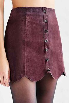 Ecote Scalloped A-Line Suede Skirt - Urban Outfitters