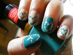 Miss Nail Polish: Dotted Hearts! OPI Don't Pretzel My Buttons and Revlon Trendy