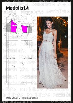 Pattern for dress Diy Clothing, Sewing Clothes, Clothing Patterns, Dress Patterns, Fashion Fabric, Diy Fashion, Fashion Design, Diy Dress, Lace Dress