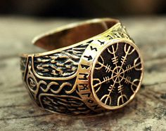 Bronze Vegvisir Futhark Runes Vikings Compass Magic Stave