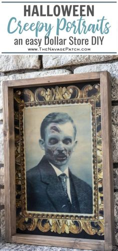 You've seen those creepy portraits in the Dollar Store that shift as you move. Here is an easy upgrade to make them look far richer than a dollar! Halloween Boo, Halloween Birthday, Holidays Halloween, Halloween Crafts, Halloween Ideas, Holiday Crafts, Holiday Decor, Creepy Halloween Decorations, Fall Decorations
