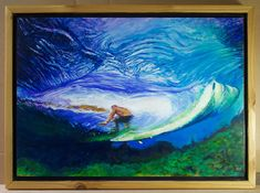 """An original oil painting on birch plywood of Mick Fanning surfing in Tahiti . Inspired by a photo from Brazilian photographer Renato Tinoco.   15.5"""" x 21"""" x 2""""  handmade cedar wood frame polished with 5 layers of tung oil."""