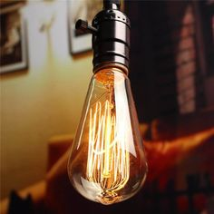 Vintage Edison Lamp Bulb E27 Incandescent Light 60W Retro Fixture 110/220V