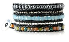 Exotic Marrakech Colorful Faceted Bead Mix on Black Leather 5x Wrap Bracelet