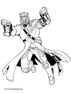 Star-Lord is son of the leader of the Spartoi Empire and a member of the Guardians. Have fun with this coloring page from the Marvel Comic movie Guardians of the Galaxy!