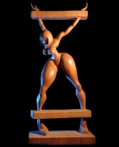 nude wood carving