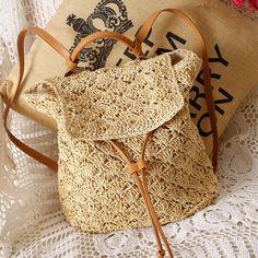2018 New Women Straw Backpack Hollow-out Crochet Bag Popular Handmade Rattan female Summer Wicker Backpacks bolsa sac a main Crochet Handbags, Crochet Purses, Crochet Bags, Free Crochet, Beach Backpack, Mini Backpack, Travel Backpack, Backpack Bags, Mochila Crochet