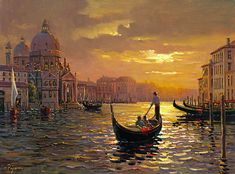 Santa Maria Sunset is a woven art tapestry piece depicting a beautiful sunset over a gondola floating down the Venetian canal. Venice Painting, Italy Painting, Pintura Exterior, Oil Painting Pictures, Painting Gallery, Classical Realism, Art Carte, Venice Travel, Sunset Art