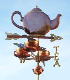 3 CUPS OF TEA, Exclusive Fundraiser Weathervane by West Coast Weather Vanes. This handcrafted teapot with tea cups and the word tea on the directionals can be custom made using a variety of materials. Three Cups Of Tea, West Coast Weather, Weather Vanes, Cuppa Tea, Tea Cozy, Tea Art, My Tea, Shop Signs, Garden Art