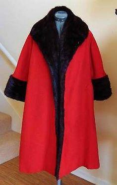 VTG LILLI ANN RED WOOL SWING COAT TRIMMED IN BLACK/RANCH MINK-M