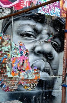 #street art #graffiti love the use of colour here and the soft detail of the face against the rough harsh brick and existing graffitti