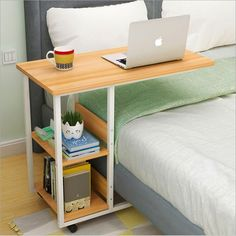 Virod-Home Office Desks Side Table, Laptop Table It Can Move Multifunction Simple Desk Lazy Bedside Table, Dorm Room, Balcony Modern Style (Color : White, Size : Home Office Desks, Home Office Furniture, Bedroom Furniture, Bedroom Decor, Bedroom Bed, Bedroom Modern, Trendy Bedroom, Bedroom Storage, Bedroom Colors