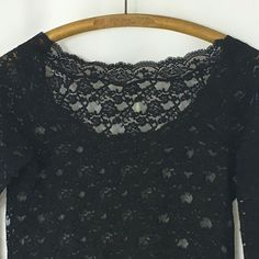 Free People Black Lace Top Size Large Shirt Long Sleeve Sheer  #FreePeople #Blouse