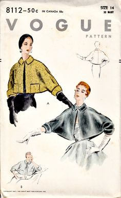 1950's Vintage Sewing Pattern  VOGUE 8112  by ShellMakeYouFlip, $25.00  elongated version of this would make a great winter cape