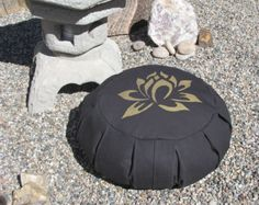 Zafu Meditation Cushion Pillow  Lotus  black / gold