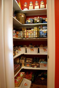 pantry makeover - shelves on side increase storage space