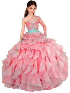 Puffy Girl's Beaded One Shoulder Flower Girl Dresses for Wedding Party Pageant Ball Gown Ruffles Organza Tulle Girl Formal First Communion Dresses Evening Prom Gown