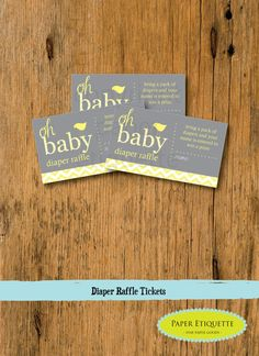 INSTANT UPLOAD  Baby Shower Games Diaper Raffle by PaperEtiquette, $3.00