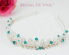 Bridal Hair Vine Hair Piece Crystal Flower by BridalDeVine