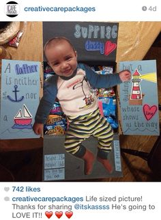 Creative Care Packages on Instagram  This follower mailed out a life size picture of her son because her deployed husband had said he wished he could see how big their son was getting ✨