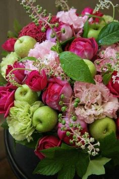 Roses, peony's and apples.