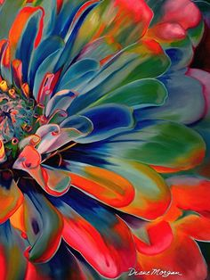 Glorious Too by Diane Morgan ~ 24 x muy colorida Abstract Flowers, Watercolor Flowers, Watercolor Paintings, Wow Art, Leaf Art, Art Floral, Colorful Paintings, Flower Art, Painting & Drawing