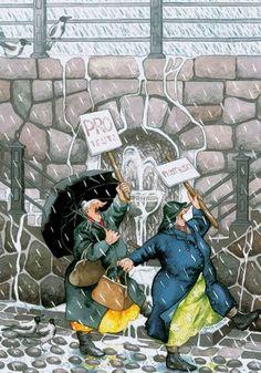 Protesting the Rain? Inge Look Postcard 30 Norman Rockwell, Illustrations, Illustration Art, Nordic Art, Postcard Art, Best Friends Forever, Whimsical Art, Old Women, Drawings