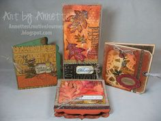 Four Fall cards using lots of Tim Holtz/Ranger/Sizzix products. Also features a great @Karen Jacot Jacot Jacot Burniston Pop 'n Cuts card!