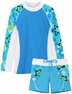 online shopping for Tuga Sunwear Tuga Girls Two-Piece Long Sleeve Bathing Suit Set Years, UPF Protection from top store. See new offer for Tuga Sunwear Tuga Girls Two-Piece Long Sleeve Bathing Suit Set Years, UPF Protection Conservative Swimsuit, Gowns For Girls, Girls Swimming, Street Style Looks, Swimsuits, Children's Swimwear, Bathing Suits, Girl Fashion, Girl Outfits