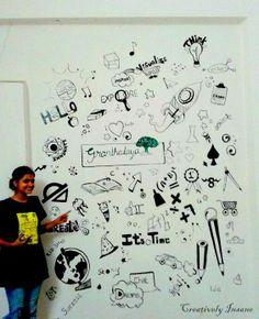 A doodled wall art hand painted in a school library !