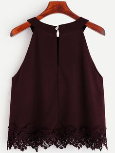 Shop Burgundy Crochet Trim Chiffon Halter Neck Top at ROMWE, discover more fashion styles online. Casual School Outfits, New Outfits, Summer Outfits, Cute Outfits, Fashion Outfits, Saree Blouse Designs, Colourful Outfits, Crochet Trim, Beautiful Outfits