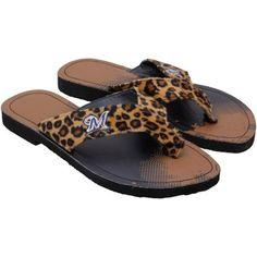 Milwaukee Brewers Women's Cheetah Strap Flip Flops