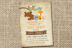 Woodland rustic baby shower invitations with forest animals, Bear Invitation, Woodland Fox Invite, Gender Neutral,Printable Digital File_43