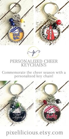 Commemorate the cheer season with a personalized gift. This unique keychain, whether for a coach or cheerleader, can be used for keys or it could be attached to a purse or bag. Cheerleading Gifts, Cheer Gifts, Team Gifts, Gifts For Sports Fans, Handmade Shop, Handmade Gifts, Perfect Christmas Gifts, Gifts For Teens, Best Friend Gifts
