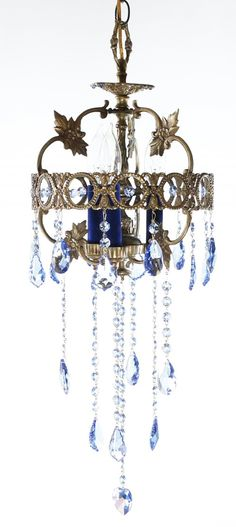 3 Lichter Kronleuchter, Klassischer Kronleuchter, Kronleuchter,  Birnenformen, Swarovskiglas, Spanisch