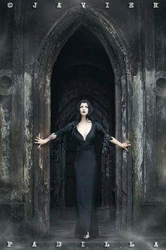Gothic pencil dress in Gothic doorway