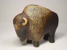 This European Bison is one of a series of animals threatened by extinction produced in 1978  by Gustavsberg for the World Wildlife Fund and the Swedish department store Nordiska Kompaniet.