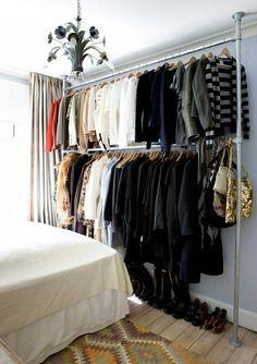 Clothing Rack First Apartment, Apartment Living, Apartment Therapy, Small Apartment Closet, Studio Apartment Storage, Apartment Design, Apartment Bedrooms, Apartment Ideas, Tiny House Closet