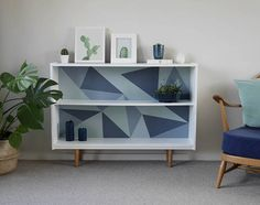 Mid Century Display Shelving Bookcase. Upcycled & Painted with