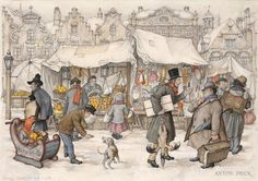 Christmas Market by Anton Franciscus Pieck (19 April 1895 – 24 November 1987) was a Dutch painter, artist and graphic artist. His works are noted for their nostalgic or fairy tale-like character and are widely popular, appearing regularly on cards and calendars.