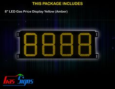 8 Inch 8888 LED Gas Price Display Yellow with housing dimension H293mm x W632mm x D55mmand format 8888 comes with complete set of Control Box, Power Cable, Signal Cable & 2 RF Remote Controls (Free remote controls).